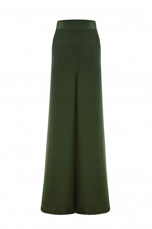 Silk Palazzo High Waisted Pant is a timeless wide leg design.